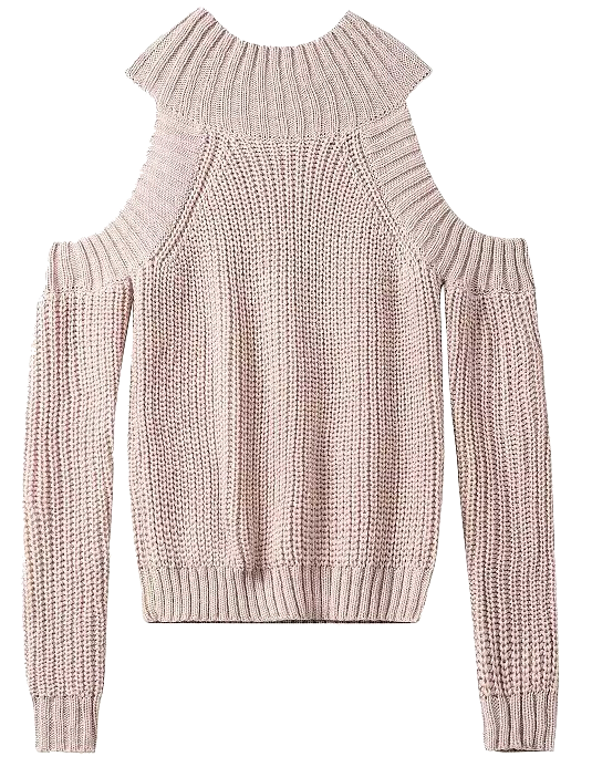 nude-knitted-cold-shoulder-sweater
