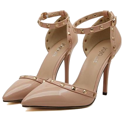 nude-studded-strappy-pointed-toe-heels