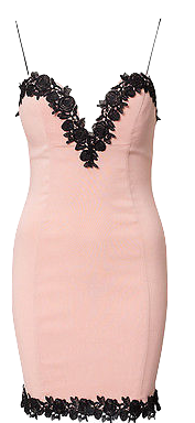 pink-bodycon-short-party-dress-with-black-lace-trim