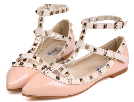 pink-pointed-toe-strappy-flats-with-rivets-embellishment