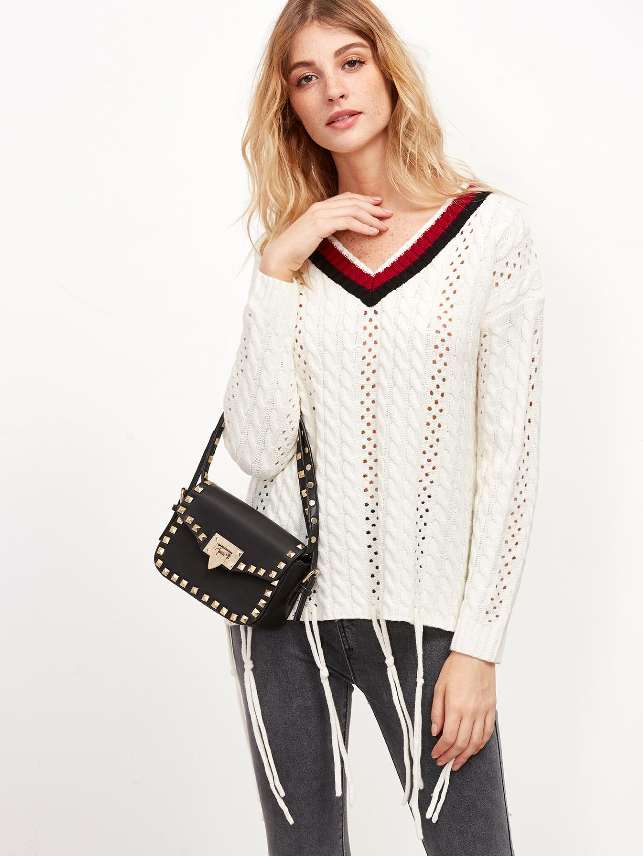 plunge-v-open-knit-sweater-featuring-stripes-neckline-and-knotted-string-hem