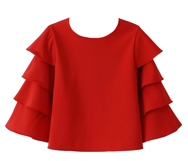 round-neck-chiffon-blouse-with-layered-flounce-sleeves