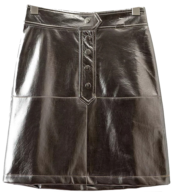 silver-metallic-pu-leather-front-button-mini-skirt