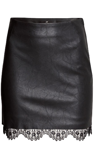 synthetic-leather-pencil-skirt-with-lace-hem