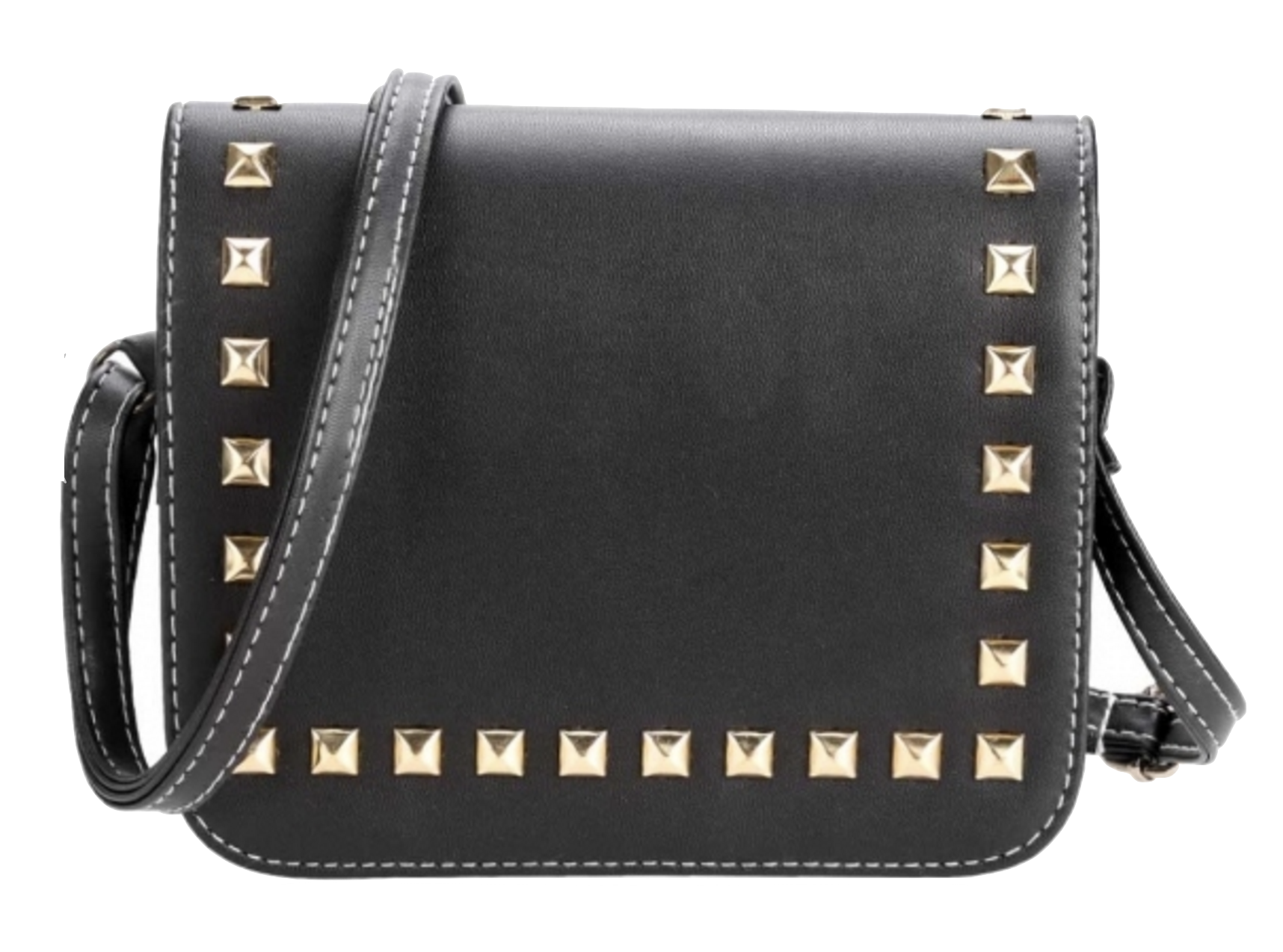 synthetic-leather-rivets-embellished-flap-shoulder-bag