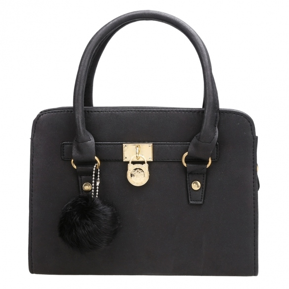synthetic-leather-structured-tote-bag-with-fur-ball-charm