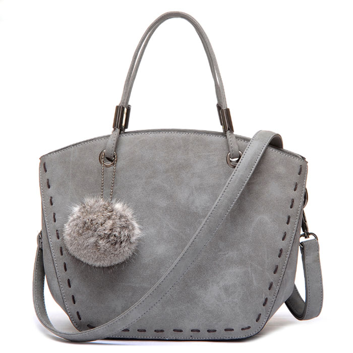 synthetic-leather-top-handle-handbag-with-fur-ball-charm