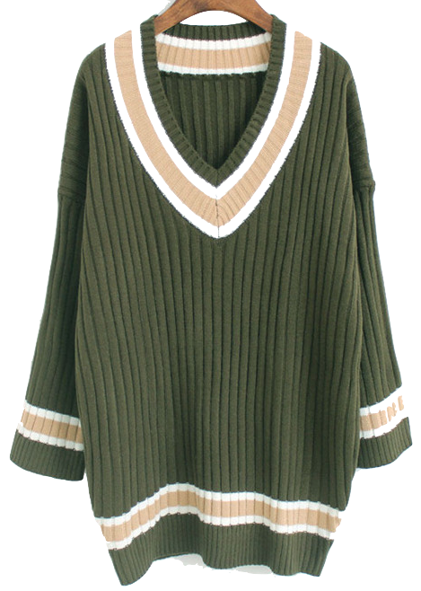 v-neck-long-knitted-jumper-sweater