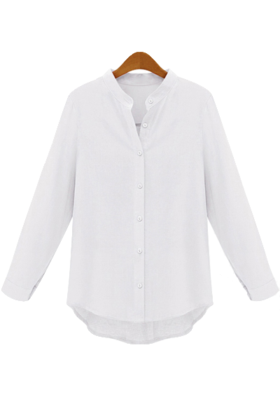 white-collarless-button-down-shirt