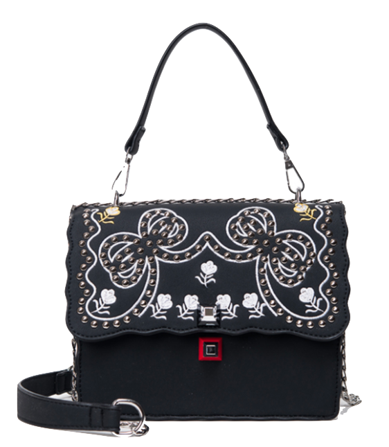 black-embroidered-handbag-featuring-chain-straps-and-rivets