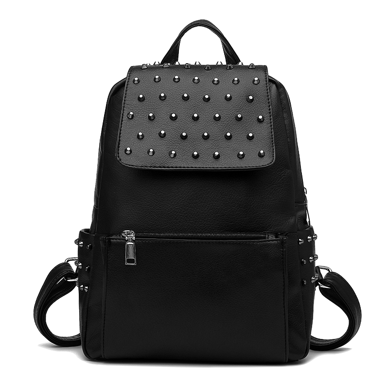 black-faux-leather-rivet-embellished-backpack