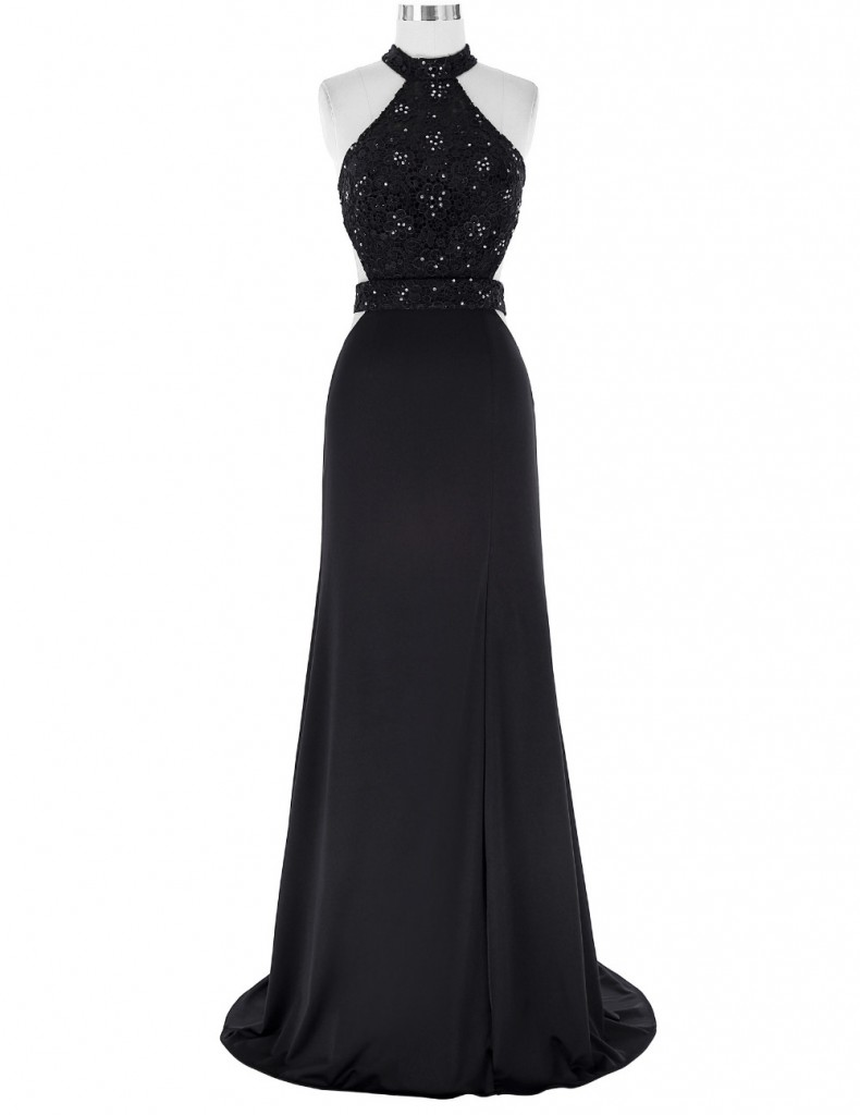 black-floor-length-chiffon-a-line-prom-dress-featuring-lace-appliques-beaded-embellished-high-neck-halter-bodice-with-cut-out-and-open-back