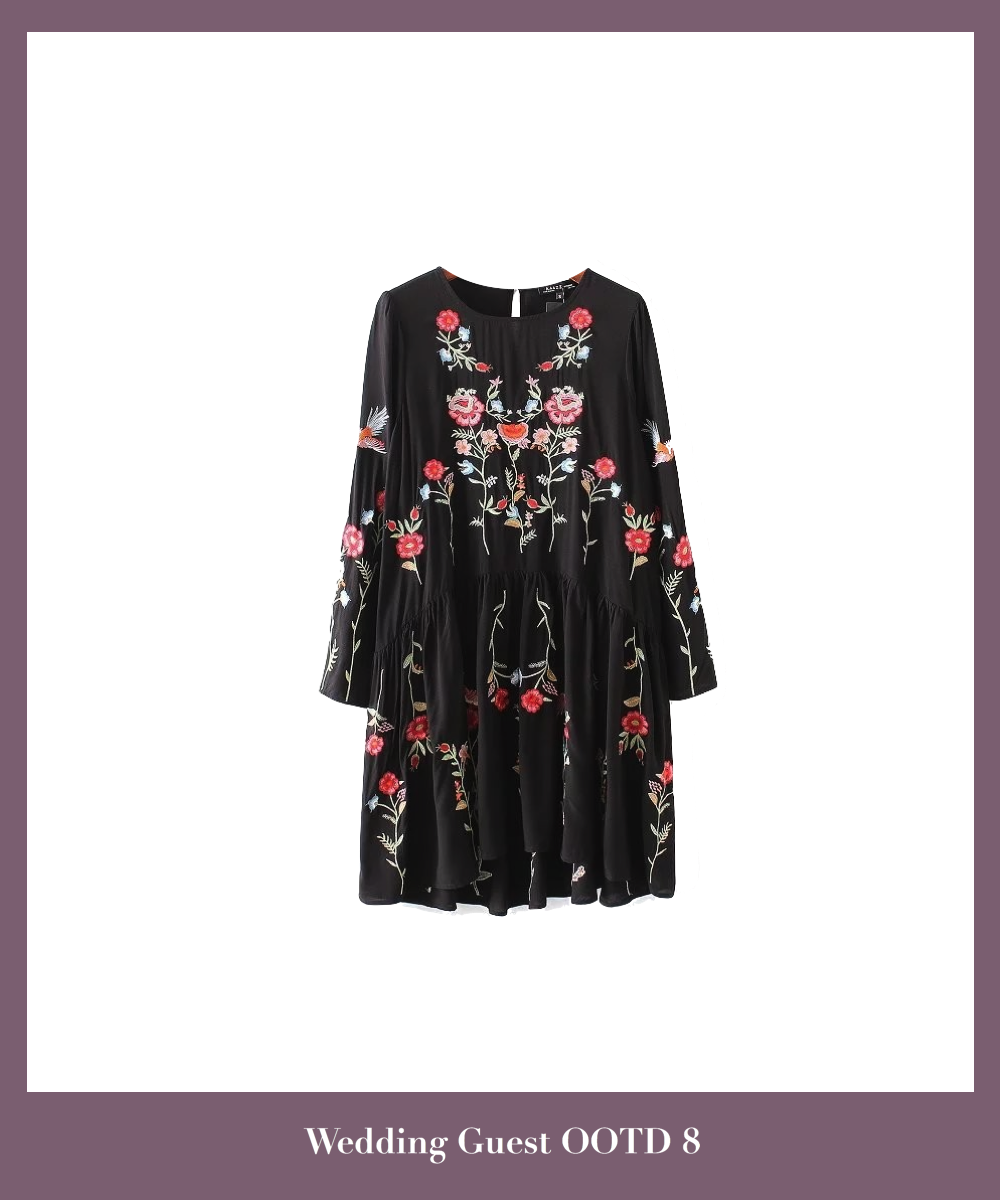 black-floral-embroidered-long-sleeve-short-dress