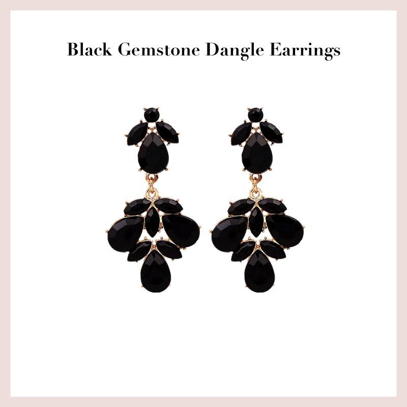 black-gemstone-dangle-earrings