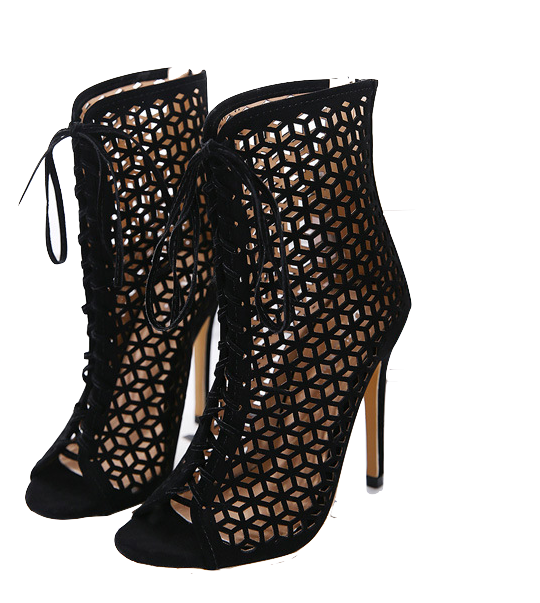 black-hollow-out-lace-up-high-heel-ankle-boots