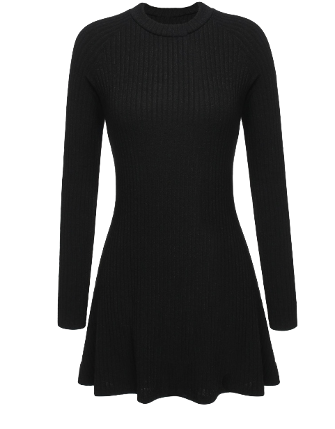 black-knitted-long-sleeve-skater-dress