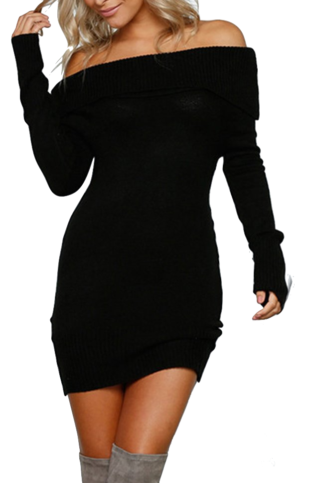 black-knitted-off-the-shoulder-sweater-dress