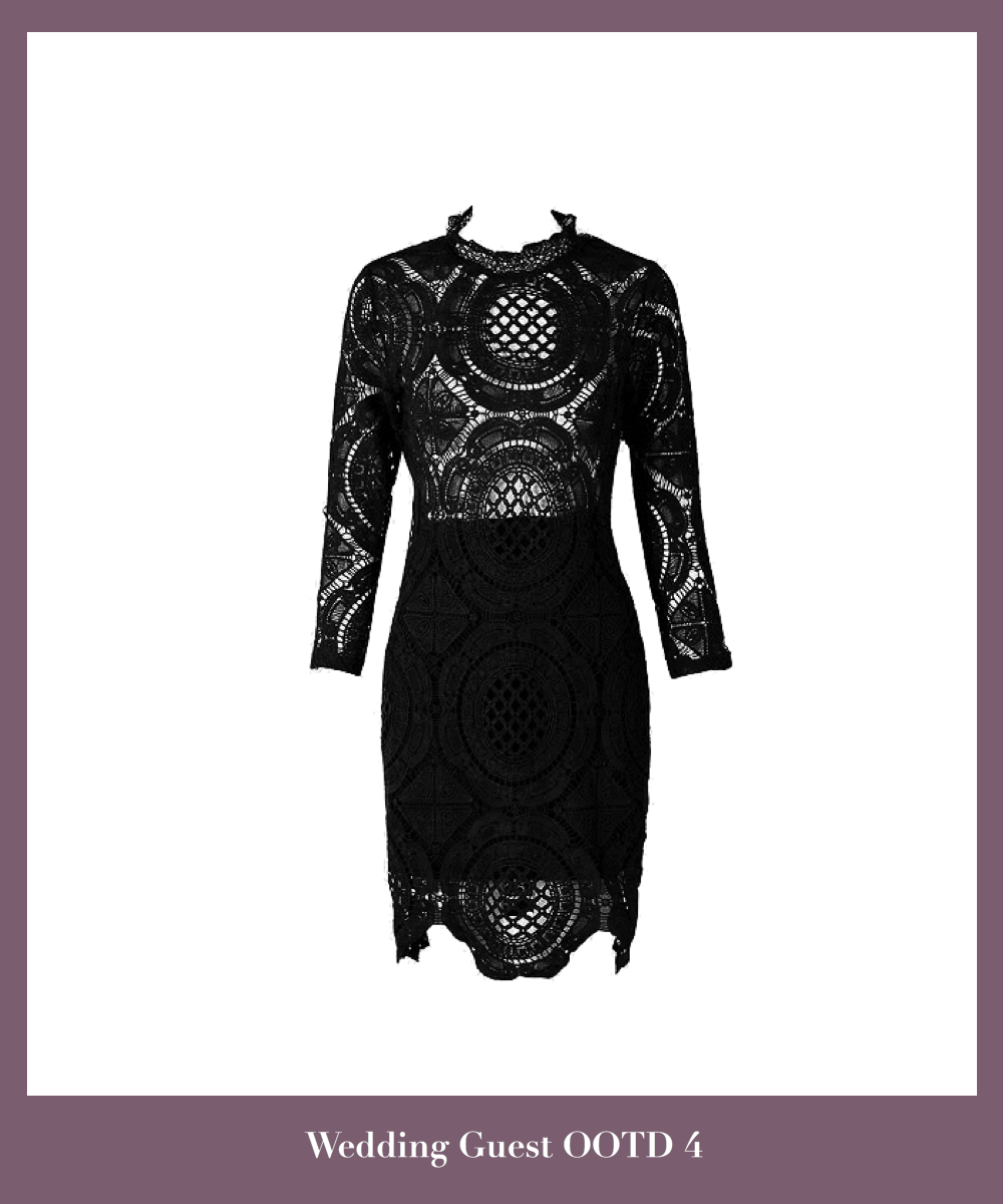 black-lace-short-bodycon-dress-featuring-long-sleeves-and-high-neck