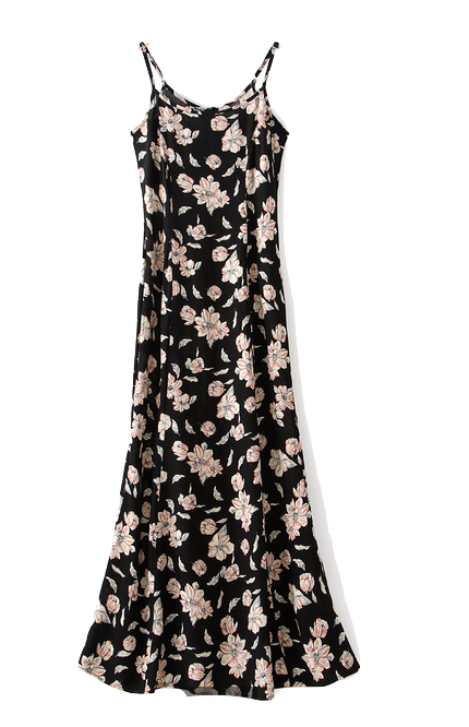 black-spaghetti-straps-floral-long-dress