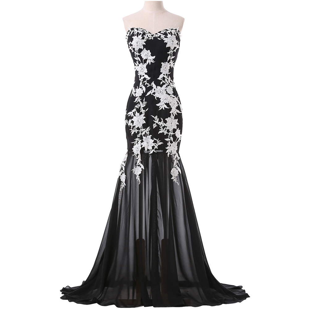 black-strapless-chiffon-white-lace-applique-mermaid-dress-with-sweep-train