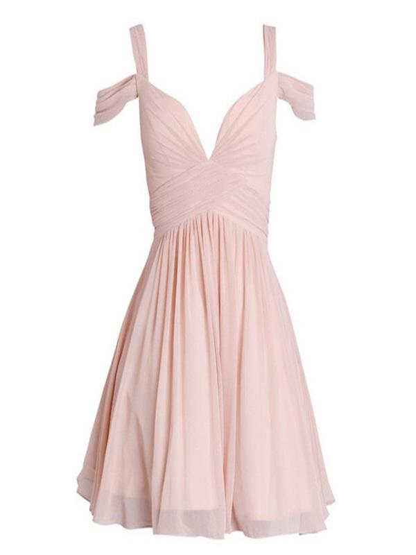 blush-pink-short-chiffon-dress-featuring-v-neck-and-off-shoulder-neckline