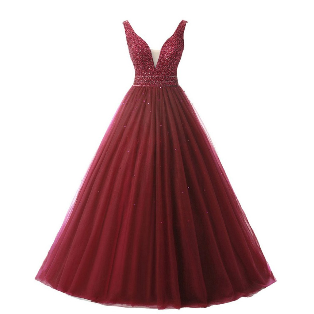 burgundy-beaded-tulle-long-prom-dress-with-v-neck-and-open-back