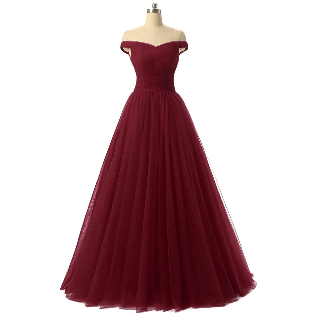 burgundy-floor-length-tulle-ball-gown-featuring-ruched-off-the-shoulder-bodice-and-lace-up-back