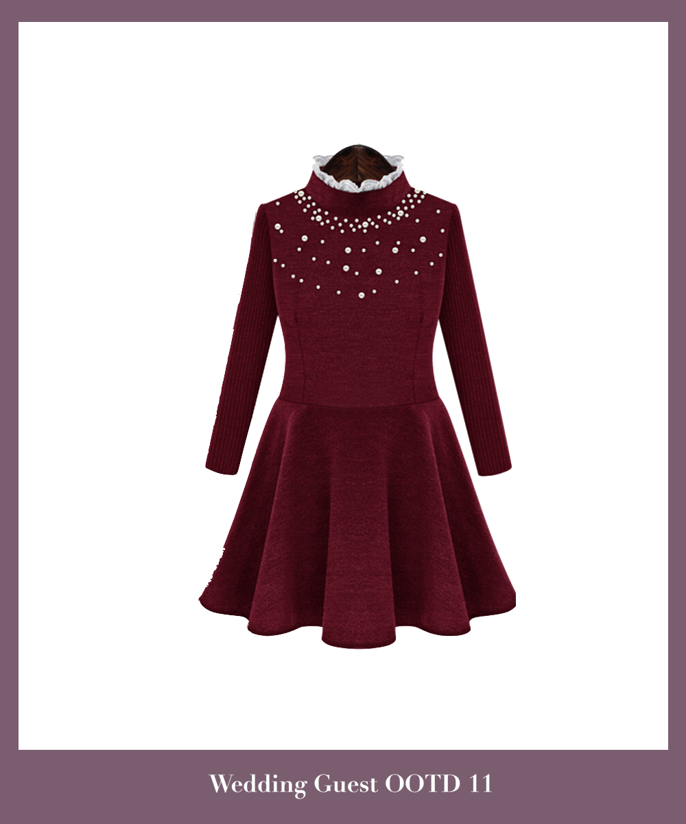 burgundy-knitted-short-a-line-dress-featuring-high-neck-long-sleeve-top-with-beaded-embellishments