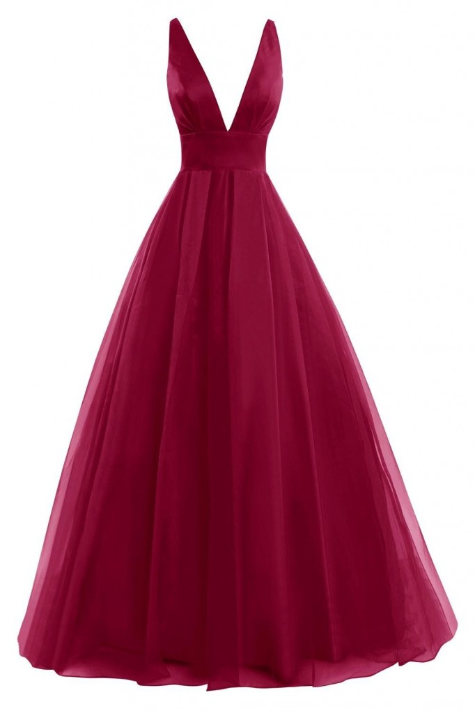 burgundy-satin-tulle-long-prom-dress-with-plunging-neckline