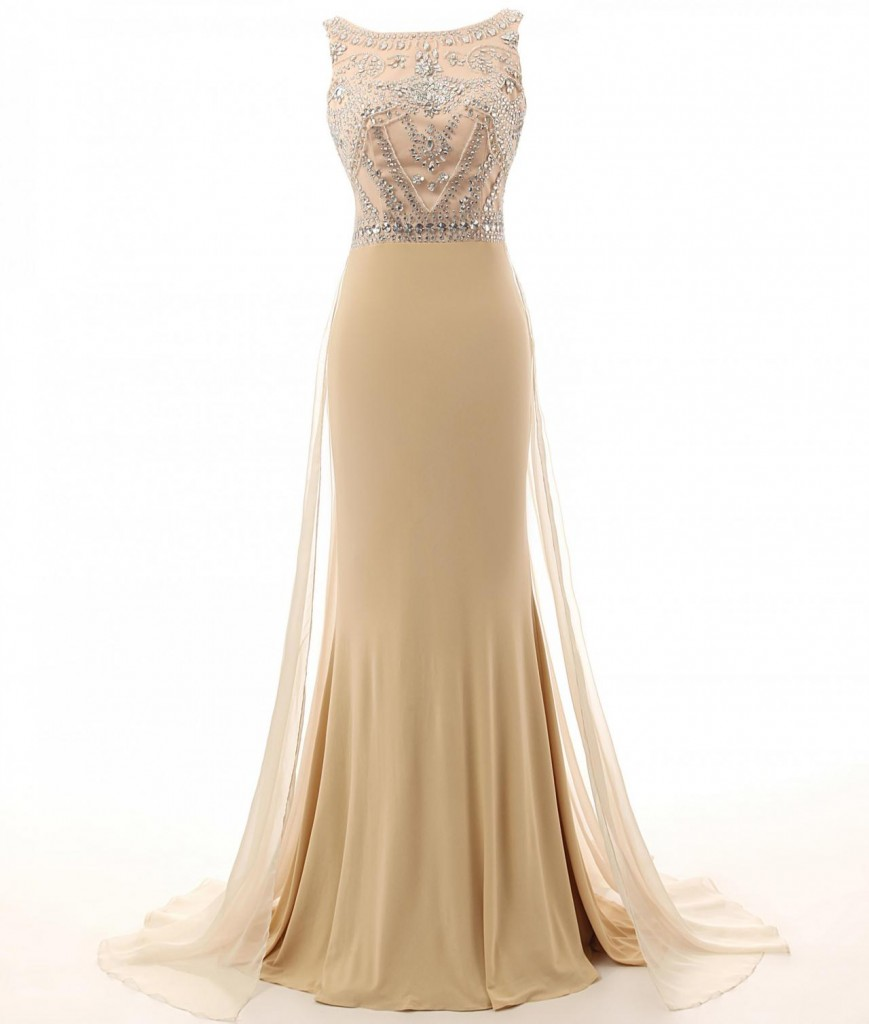champagne-bateau-neckline-mermaid-tulle-prom-dress