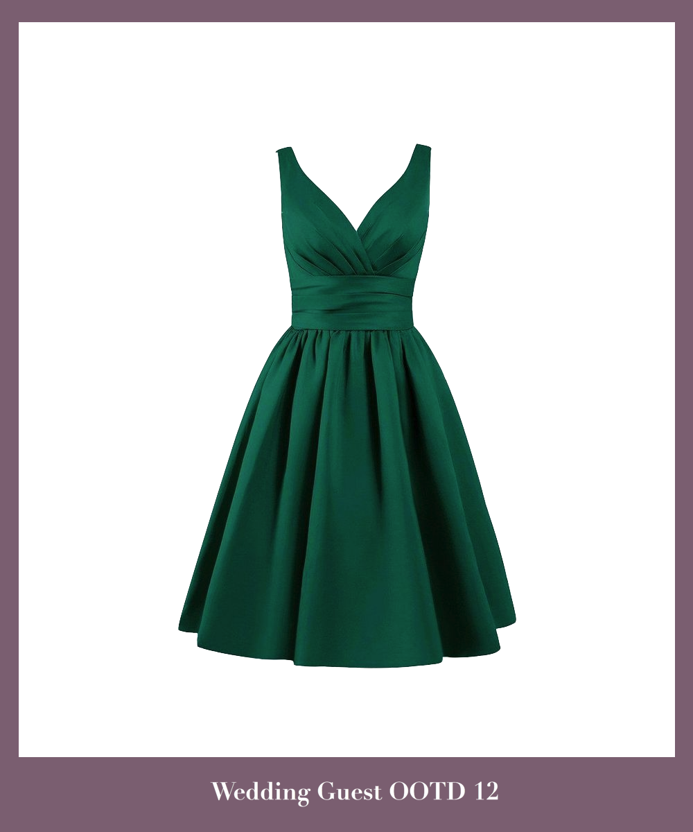 emerald-green-satin-knee-length-a-line-evening-dress-featuring-plunge-v-bodice