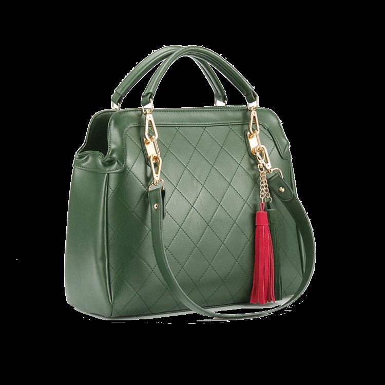 green-handbag-featuring-tassel-detailing