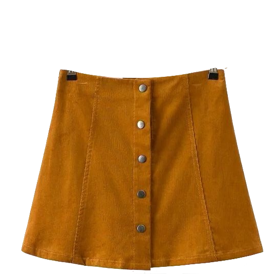 khaki-short-button-down-a-line-skirt