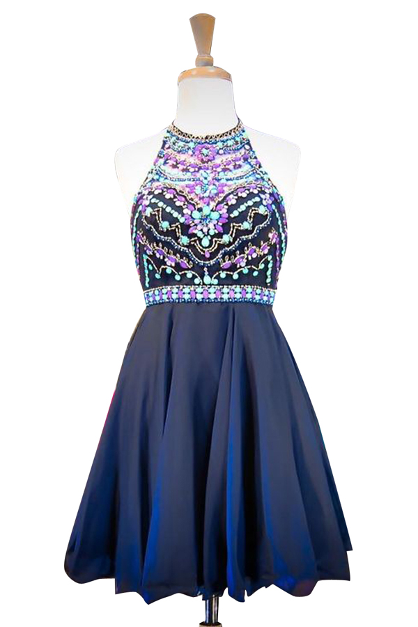 navy-blue-halter-neck-short-prom-dress-featuring-colorful-beads-bodice
