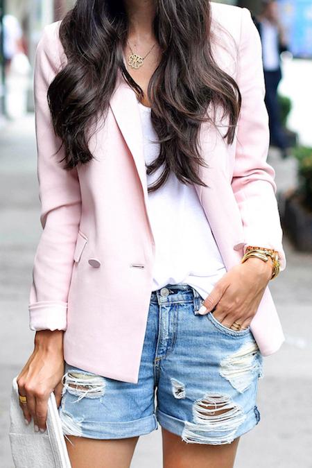 blazer-denim-shorts-white-clutch