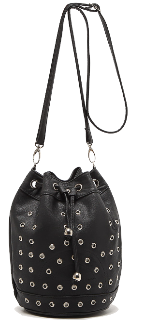 stylish-black-eyelet-rivet-drawstring-bucket-bag