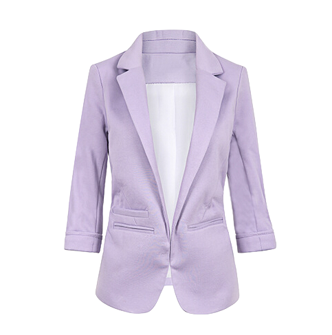 womens-pastel-color-buttonless-blazer-with-three-quarter-sleeves