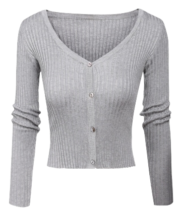 womens-v-neck-long-sleeve-slim-fit-button-up-sweater-in-gray