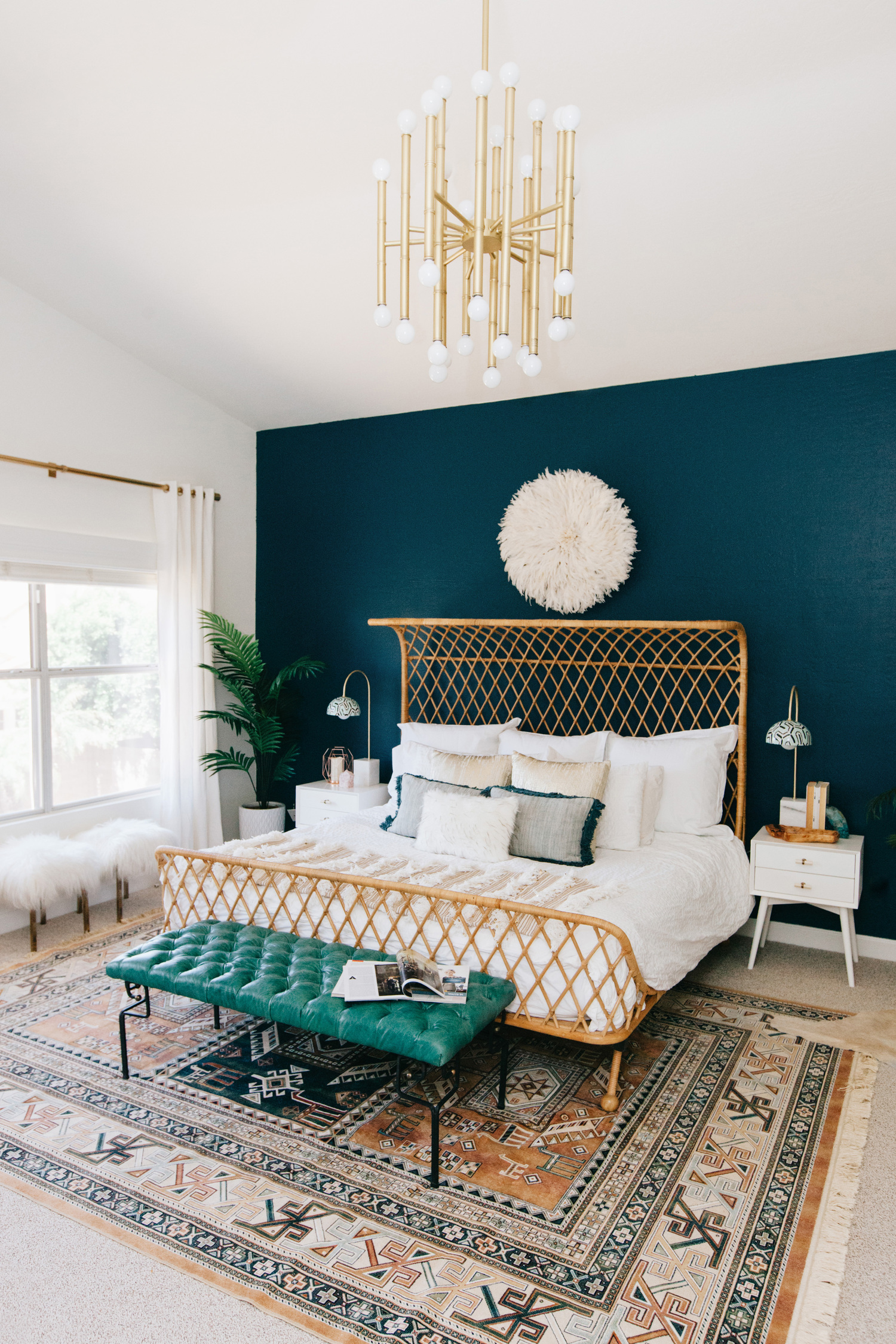 A Gorgeous Luxe Master Bedroom With Only One Wall Painted With Deep Teal Hue. The Rattan Bed Animal Skin Rug And Plants Created A Boho-chic Bedroom Style . & One-wall-painted-room \u0026 A Gorgeous Luxe Master Bedroom With Only One ...