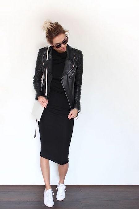 white-crossbody-black-dress