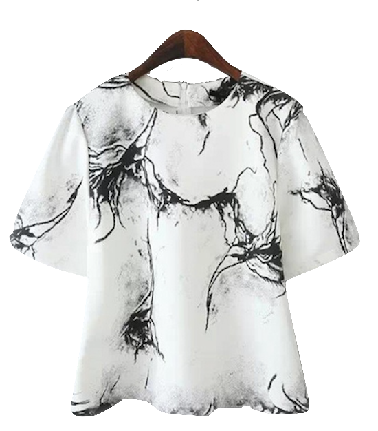Bell-Sleeve-Crack-Print-Top