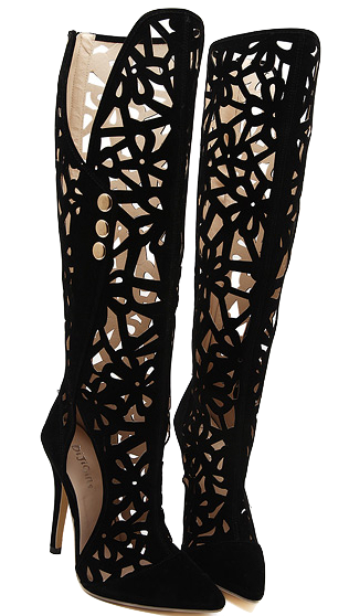 Black Cut-out Thigh High Boots with Stiletto Heels