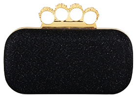 Black Evening Clutch with Rhinestone Ring Handle