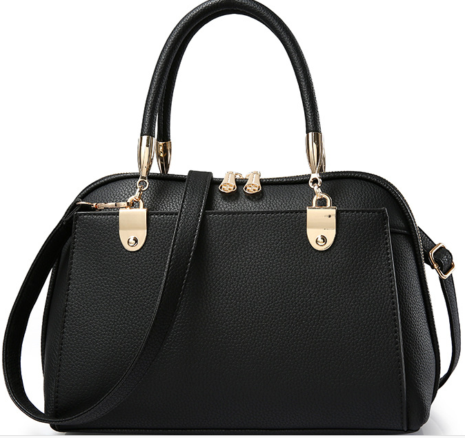 Black PU Leather Handbag with Removable Shoulder Strap