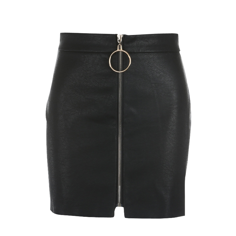 Black PU Leather Short Skirt with Ring Zipper