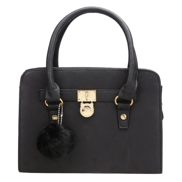 Black Synthetic Leather Handbag with Fur Ball Charm