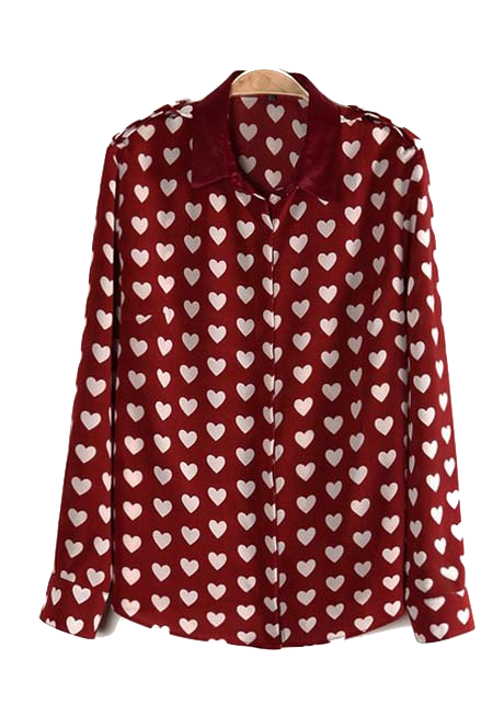 Burgundy Heart Print Button Down Collar Shirt