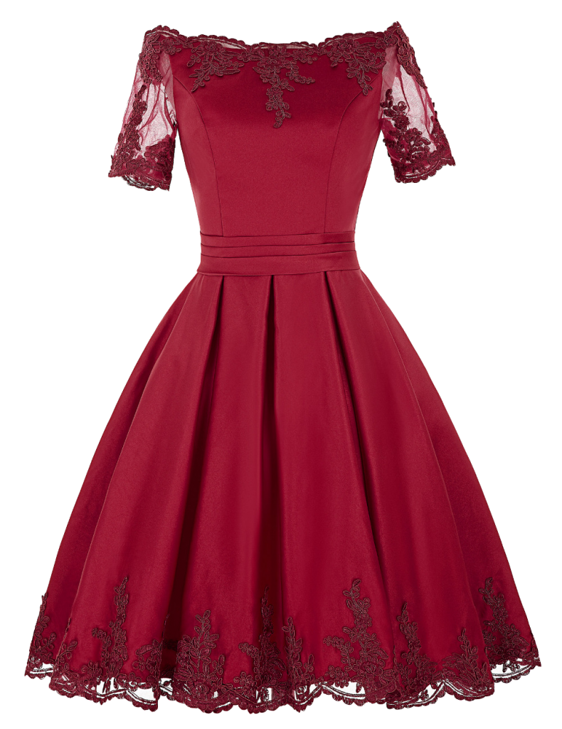 Burgundy Off-the-shoulder satin short evening dress with lace trim neckline and sheer sleeves
