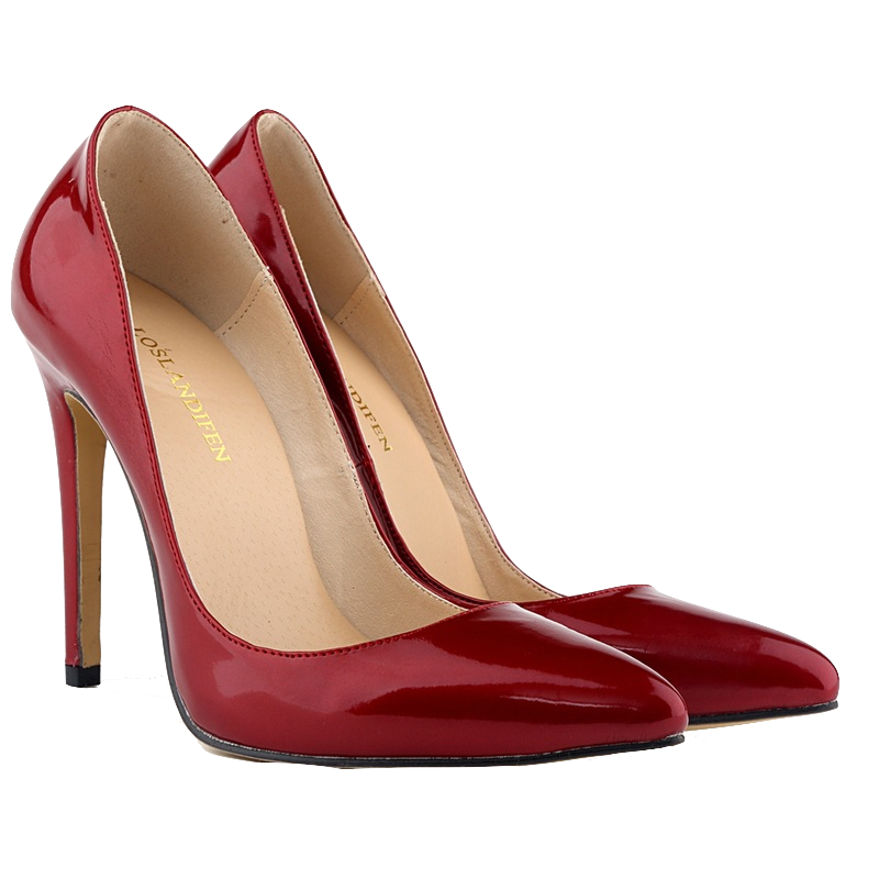 Burgundy Red Glossy Stiletto Heels with Pointed Toe