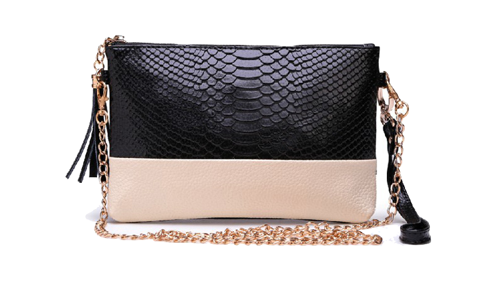 Color Block PU Leather Clutch Bag with Removable Chain Strap